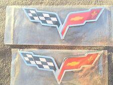 X2 PIECES ❌ Cross Flags CHEVROLET corvette CAR TRUCK EMBLEM logo DECAL SIGN new*