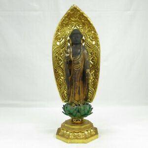 A837: Japanese real old biggish Buddhist statue AMIDA-NYORAI w/great atmosphere