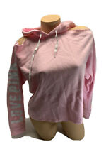 NWT victoria's Secret PINK Graphic Cold Shoulder Hoodie Size XS