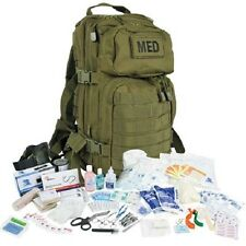 Tactical Trauma Kit #3 First Aid Kit w/ Backpack STOCKED Medic Survival Bag ODG+