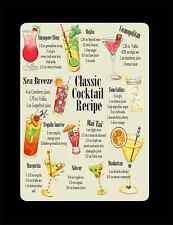 retro classic cocktail recipes metal tin plate sign