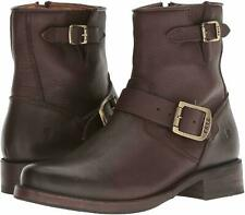 Frye VICKY Dark Brown Short Ankle Cowboy Boots Bootie Shoes Flats Multi Size NEW