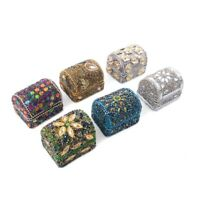 Handcrafted Set Of 6 Mini Multi Color Bead Treasure Chest Organizer Box Storage