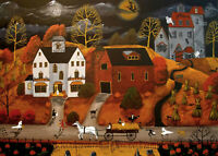 Halloween Hayride ACEO print of painting black cat witch house horse folk art DC