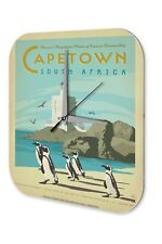 Wall Clock Globetrotter  Cape Town South Africa Penguins lighthouse beach Printe