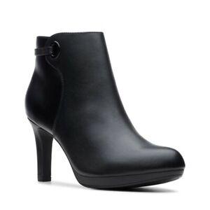 Ladies Clarks Stylish Black Leather Heeled Ankle Boots 'Adriel Mae' Size UK 6.5