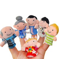 6 Pcs Family Finger Puppets Cloth Doll Baby Educational Hand Cartoon Toy LrJNE