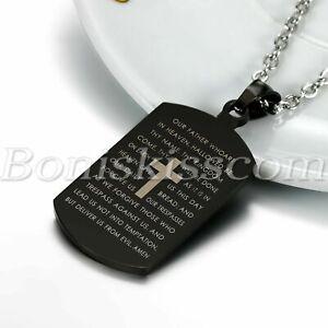 Men's Black Tone Cross Crucifix Bible Text Prayer Tag Pendant Necklace Chain