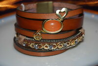 BEAUTIFUL MULTI BROWN LEATHER STRAND MAGNETIC BRACELET WITH CHAINS & RHINESTONES