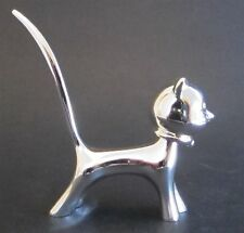Cat  Ring Holder - Silver Plated Finish - Bobble Head, Diamante Eyes - Boxed