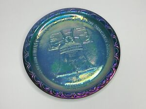 "VINTAGE LIBERTY BELL Philadelphia Bicentennial Blue Carnival Glass Plate 8"" 💙 K"