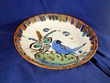 "Ken Edwards Pottery Shallow Round Bowl 10 3/8"" (blue bird, blue/brown/green)"