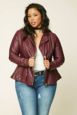 Forever 21 Plus Burgundy Faux Leather Quilted Peplum Moto Jacket XL/1X