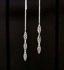 *IAJ* 925 STERLING SILVER TRIPLE DIAMOND-SHAPED DROP DANGLE Ear Thread Earrings