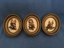 Vintage Needlepoint OWLS Set of 3 Framed Mid-Century Decor Horned Screech Barn