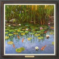 "Hand painted Oil painting original Art Landscape fish pond on canvas 30""x30"""