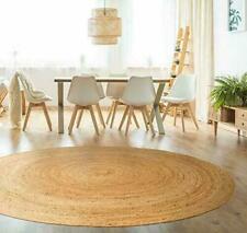 Rug Natural Jute Floor Handmade Round 2x2 Feet Area Carpet Modern Reversible Rug