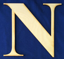 """Wood Letter Unfinished 8"""" tall New Roman Bold Font Letter """"N"""" Made In The USA"""