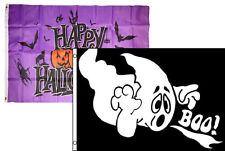 3x5 Happy Halloween 2 Pack Flag Wholesale Set Combo #28 3'x5' Banner Grommets