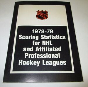 1978-1979 SCORING STATISTICS FOR NHL & PROFESSIONAL HOCKEY LEAGUES BOOK