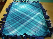 Handmade fleece tie blanket of teal/navy blue plaid for a small pet