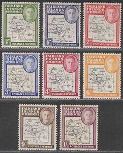Falkland Islands Dependencies 1946 KGVI Thick Map Set Mint SG G1-G8 cat £13