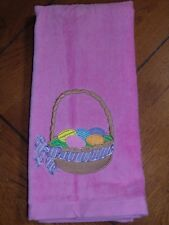 Embroidered Velour Hand Towel - Easter - Easter Basket - Multi Purple Ribbon