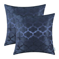 "2Pcs Navy Blue Cushion Covers Pillows Shells Accent Geometric Home Decor 18x18"""