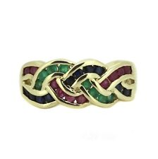 Edelstein Ring - 333er Gelbgold - Rubin Saphir Smaragd