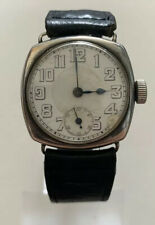 VINTAGE GENTS SOLID SILVER TRENCH WATCH HEAVY WORKING