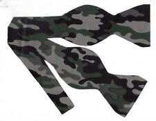 (1) Seamless Urban Camo Self-tie Bow tie - Grey, Black and Green Camo