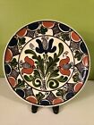 """Vintage Korond Transylvania Hungary Hand Painted Pottery Plate, Floral 9 1/4"""""""