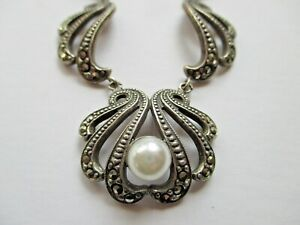 Vintage Marcasite Swag Necklace With Faux Pearl on Chain.