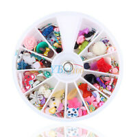 1200pcs 3D Mixed DIY Decor Nail Art Tips Glitters Rhinestones Flower Slice Wheel