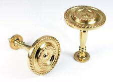 Pair Of Solid Brass GEORGIAN ROPE Stem Curtain Holdbacks NEW