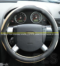 TOYOTA FAUX LEATHER BLACK/BEIGE STEERING WHEEL COVER