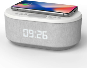 Bedside Wireless Charging Radio Alarm Clock with Dimmable LED Display - Mains Po