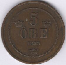 More details for 1883 sweden oscar ii 5 ore coin | european coins | pennies2pounds