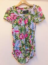 ZARA BASIC FLORAL FLOWER ROSE HIPPY BOHO T-SHIRT BLOUSE TUNIC M MEDIUM 10 6 38
