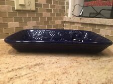 "Cobalt Blue Fruit Tray Ceramic Dish Bowl 14 1/2 x 9 1/2 x 2""  weighs 5 1/2 lbs"