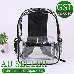 Transparent Backpack Bag Clear PVC Travel Shoulder Bag School Bag Strap Book Bag