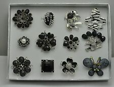 WHOLESALE LOT 12 PCS BLACK COLLECTION CHIC COCKTAIL JEWELRY RINGS MK14