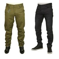 Men's Chinos Tapered Fit ETO Designer Trouser Pants Cotton Olive Colour 28-42
