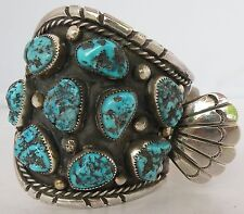 bracelet watch band Kanteena Raybert Old Massive Navajo, Turquoise Sterling cuff