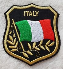ITALY FLAG IN SHIELD PATCH Embroidered Badge 7 x 8cm Italia Italian Iron Sew on