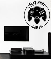 Wall Vinyl Decal Game Console Play More Game Decor for the Games Room z4751