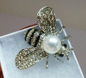 Bee insect brooch silver plate black rhinestone pearl vintage style  in gift box