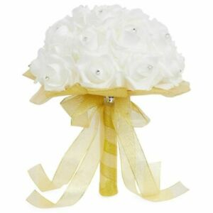 Wedding Bouquet Artificial Flowers and Removable Handle, White & Gold, 9 x 12 in