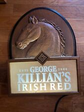 Nice George Killian's Irish Red Beer Light Up Display Sign Horse Head Wood