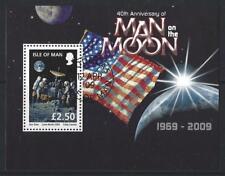 Isla De Man 2009 hombre en la Luna hoja fina en miniatura utilizados